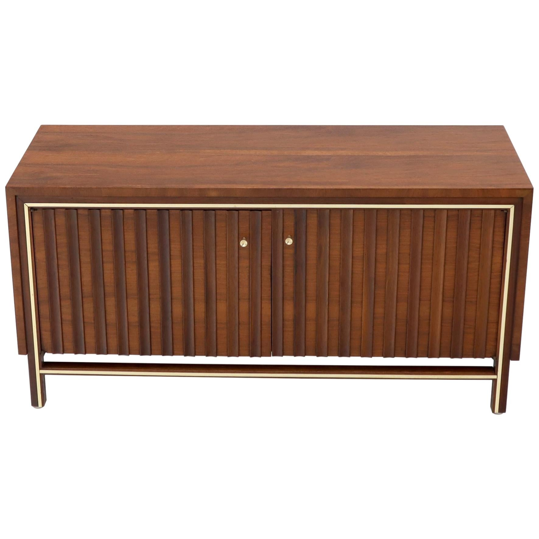 Two Door Sculpted Front Small Walnut Credenza Dresser with Brass Accents