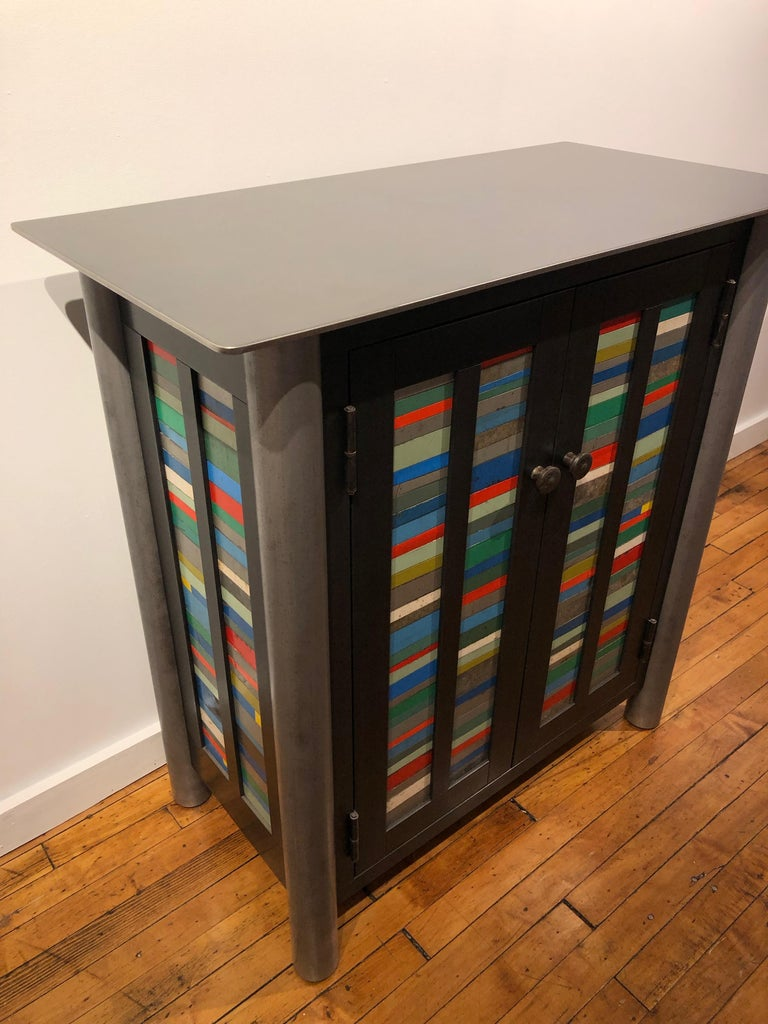 Welded Jim Rose Two-Door Strips Quilt Cupboard, Brightly Colored Steel Art Furniture For Sale