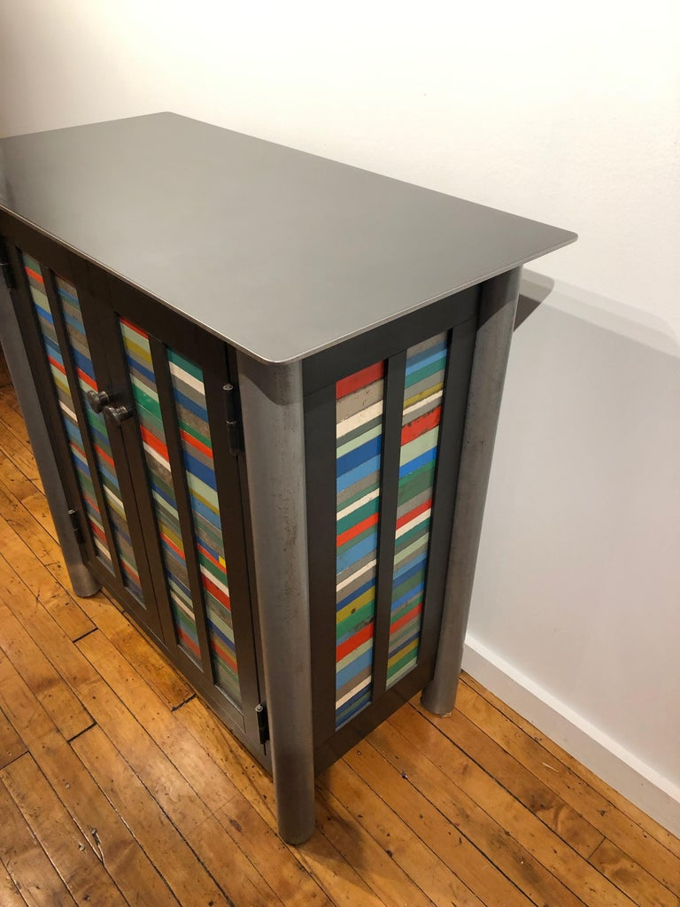 Jim Rose Two-Door Strips Quilt Cupboard, Brightly Colored Steel Art Furniture In New Condition For Sale In Chicago, IL