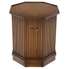 Two Doors Compartment Cabinet Octagon Shape Side Occasional End Table Pedestal