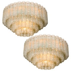 Two Doria Organic Ballroom Flush Mounts with Glass Tubes, 1960s