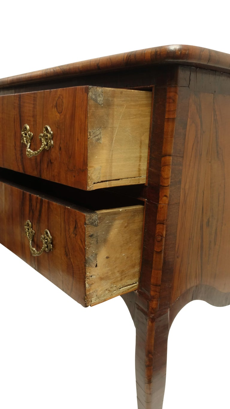 Two-Drawer Commode of Mahogany and Circassian Walnut, Italian, 18th Century For Sale 6