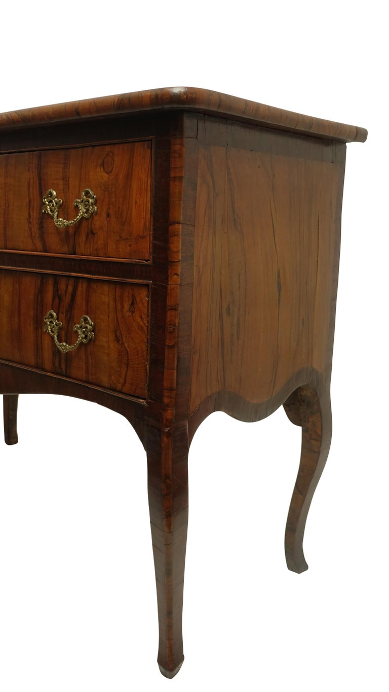 Two-Drawer Commode of Mahogany and Circassian Walnut, Italian, 18th Century In Good Condition For Sale In San Francisco, CA