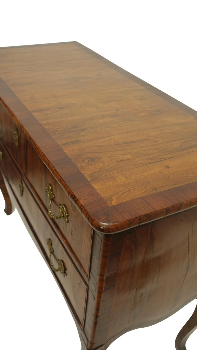 Two-Drawer Commode of Mahogany and Circassian Walnut, Italian, 18th Century For Sale 1