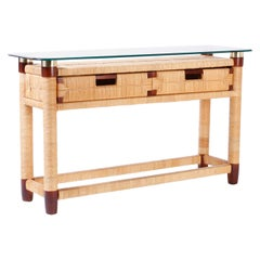 Two-Drawer Glass Top Donghia Console Table
