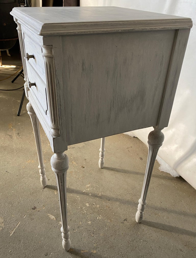 Gustavian Two Drawer Louis XVI Style Painted Night Stand For Sale