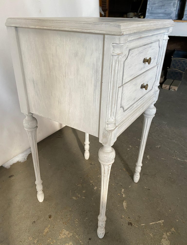 Hand-Painted Two Drawer Louis XVI Style Painted Night Stand For Sale