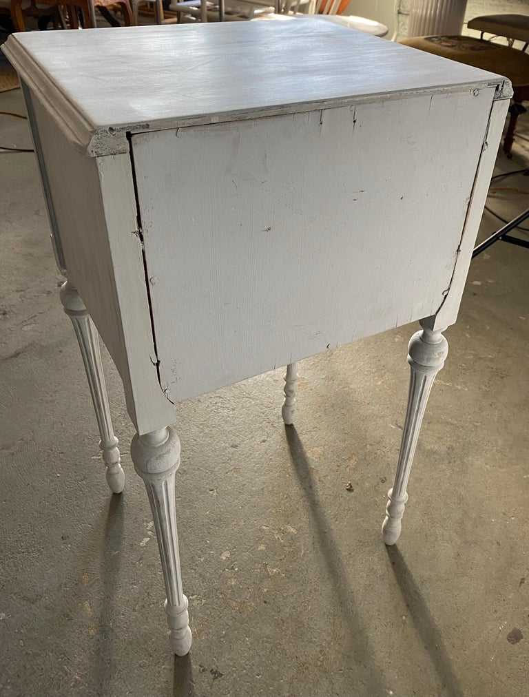 Two Drawer Louis XVI Style Painted Night Stand In Good Condition For Sale In Great Barrington, MA
