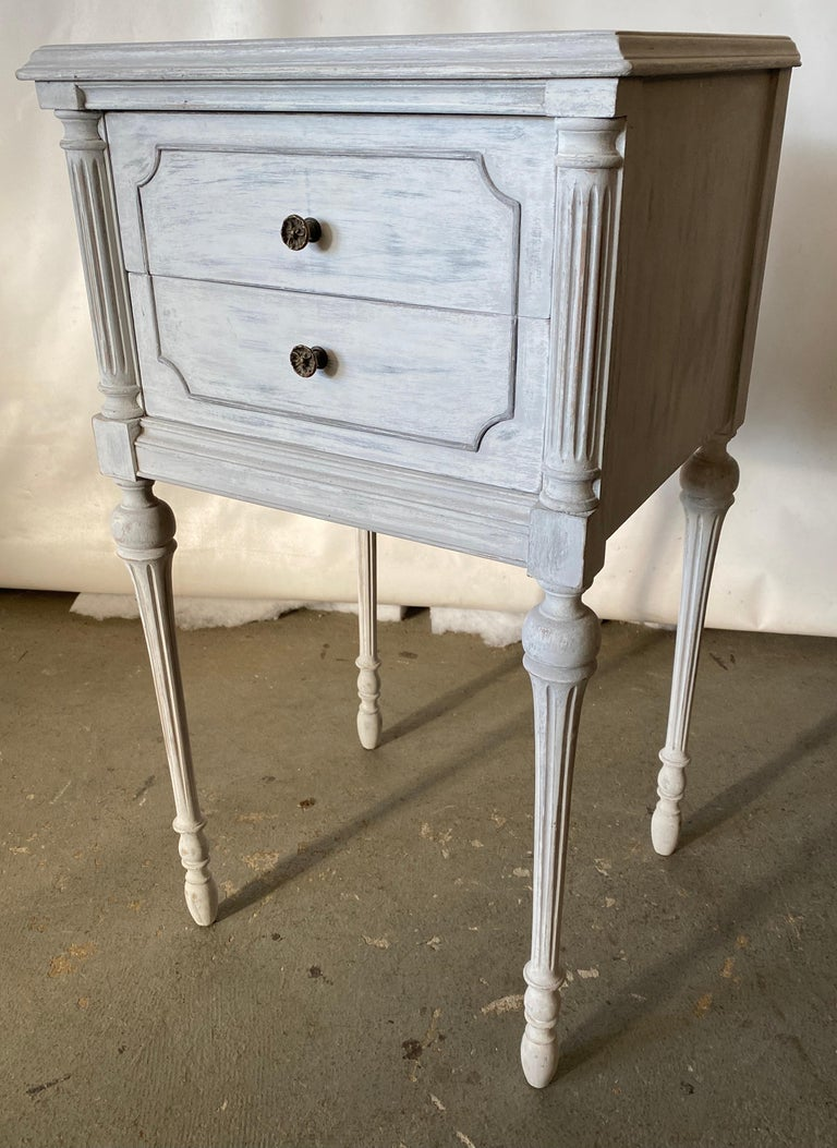 20th Century Two Drawer Louis XVI Style Painted Night Stand For Sale