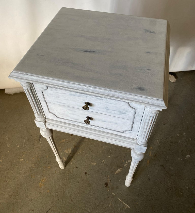 Wood Two Drawer Louis XVI Style Painted Night Stand For Sale