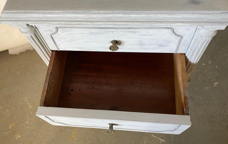 Two Drawer Louis XVI Style Painted Night Stand For Sale 2