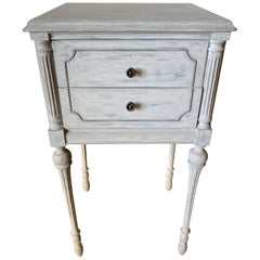 Two Drawer Louis XVI Style Painted Night Stand