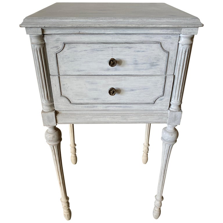Two Drawer Louis XVI Style Painted Night Stand For Sale