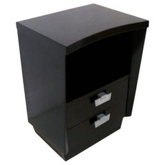 Two-Drawer Nightstand Table with Ebonized Finish