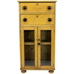 Two-Drawer Pine Glass Door Cabinet