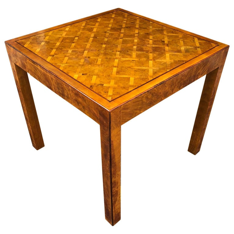 Two-Drawer Square Italian Parquet Game Table, Italy 1960s