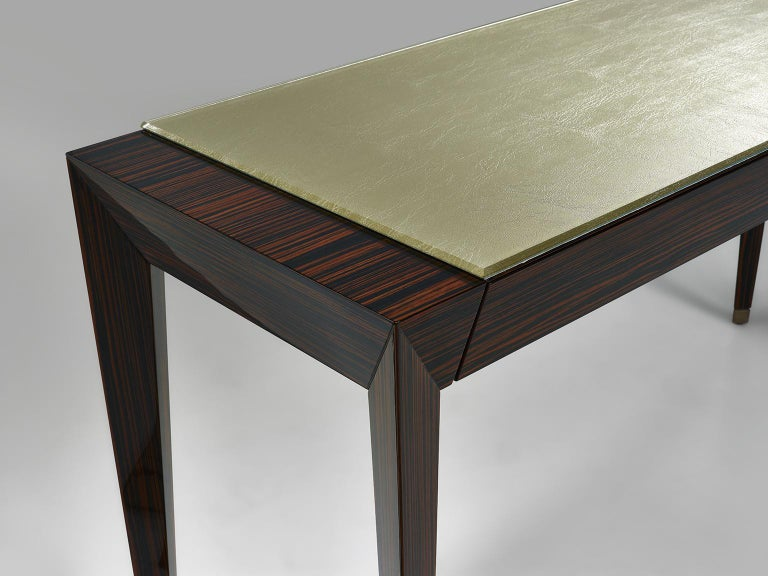 Italian Two-Drawers Table Ebony Veneer Frame Solid Timber  Wood Caps at Feet Vetrite For Sale