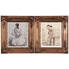 Two Drawings with Ballerinas Painter Carl Fischer