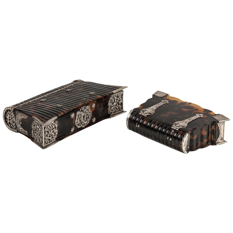Two Dutch Colonial Tortoiseshell Bible Boxes with Silver Mounts, 18th Century For Sale