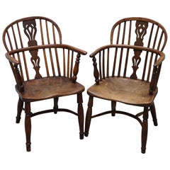 Two Early 19th Century Burr Yew Wood & Elm Windsor Armchairs Part Set of Four