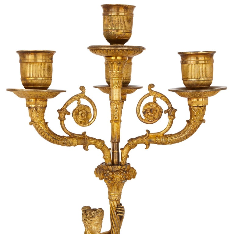 Two Early 19th Century French Empire Gilt Bronze Candelabra For Sale 2