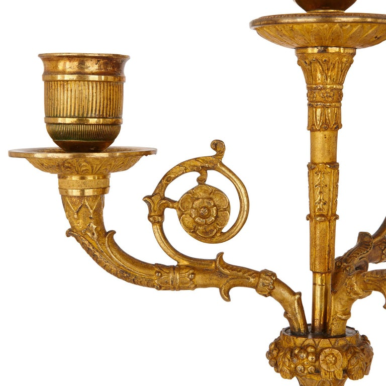Two Early 19th Century French Empire Gilt Bronze Candelabra For Sale 3