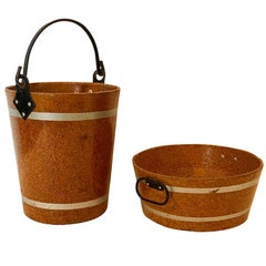Two Early 20th Century French Papier Mâché Faux Bois Buckets