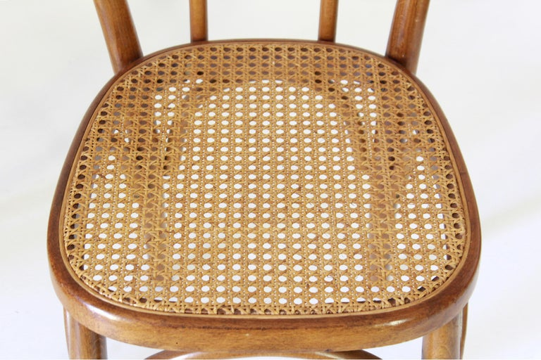 Two Early 20th Century Thonet Style curved Wood Chairs For Sale 4