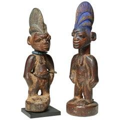"""Two Early Yoruba Tribal Ibeji """"Twin"""" Figures, Nigera, Early 20th Century"""