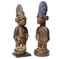"""Two Early Yoruba Tribal Twin Figures """"Ibeji"""" Nigera, Early 20th Century"""