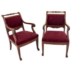 Two Eclectic Antique Red Armchairs