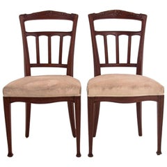 Two Eclectic Beech Chairs