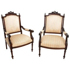 Two Eclectic Beige Armchairs