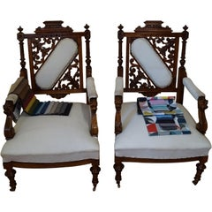 Two Eclectic Walnut Armchairs from 1880