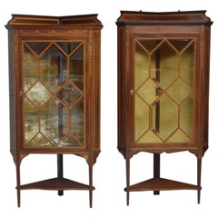 Two Edwardian Mahogany Corner Display Cabinets