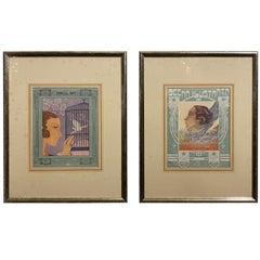 Two Elegant Framed Art Deco Italian Prints, circa 1930