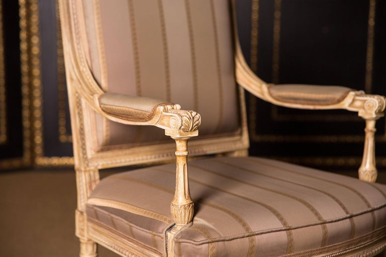 19th Century Two Elegant French Armchairs in the Louis Seize Style For Sale