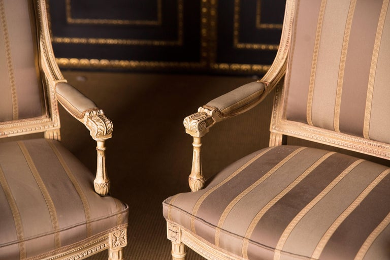 Two Elegant French Armchairs in the Louis Seize Style For Sale 1