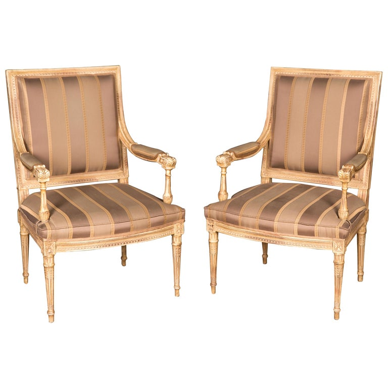 Two Elegant French Armchairs in the Louis Seize Style For Sale