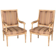 Two Elegant French Armchairs in the Louis Seize Style