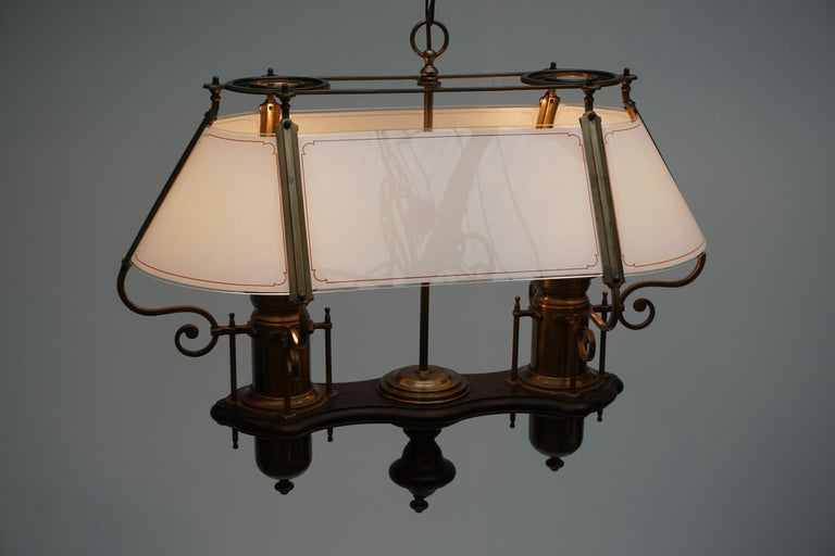 Two Elegant Glass and Copper Ceiling Lights For Sale 5