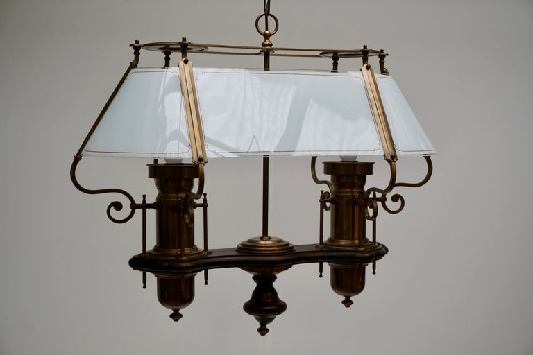 Italian Two Elegant Glass and Copper Ceiling Lights For Sale
