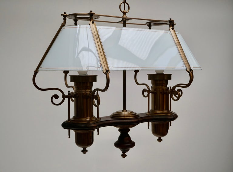 20th Century Two Elegant Glass and Copper Ceiling Lights For Sale