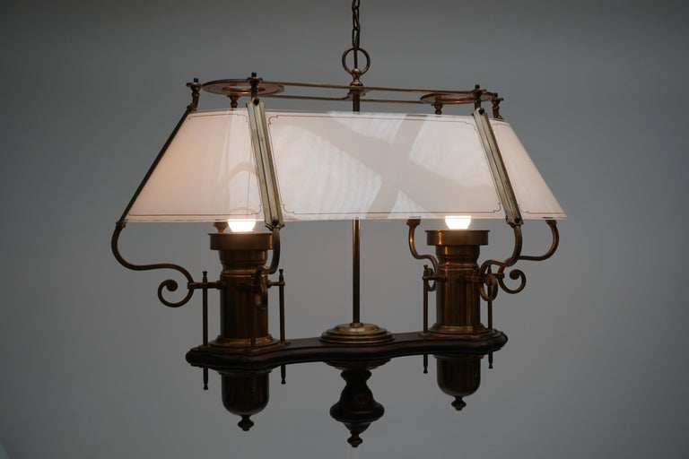Two Elegant Glass and Copper Ceiling Lights For Sale 2
