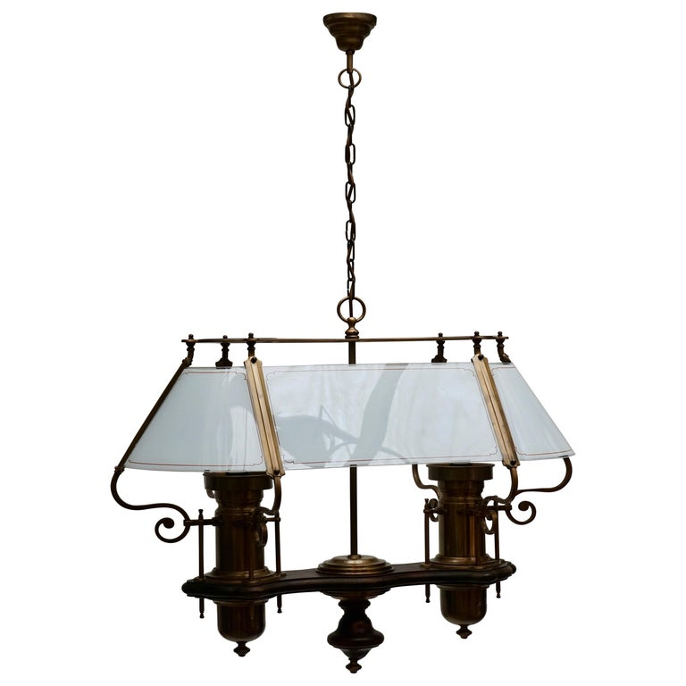 Two Elegant Glass and Copper Ceiling Lights For Sale