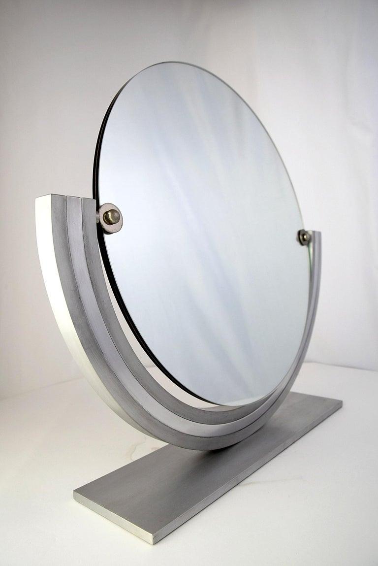 Aluminum Two Elegant Italian Hollywood Regency Vanity Mirrors For Sale