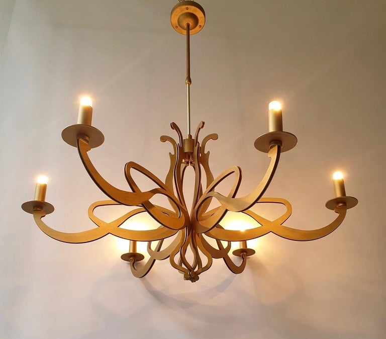 20th Century Two Elegant Large Art Nouveau Hollywood Regency Style Chandeliers For Sale