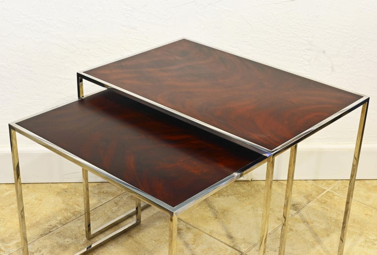 Minimalist Two Elegant Nesting Tables by Michael Kirkpatrick for Decca Bolier Collection For Sale