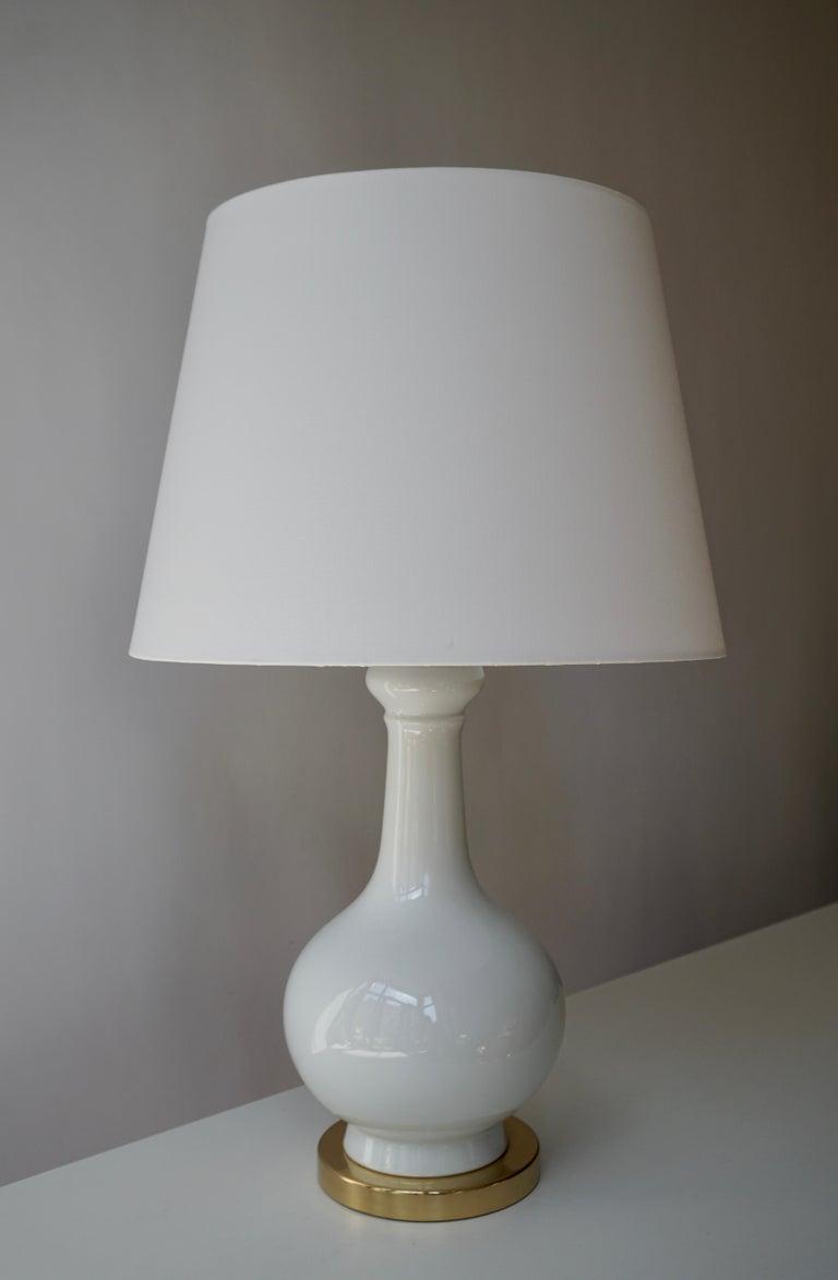 Mid-Century Modern Two Elegant White Porcelain Table Lamps, 1970s For Sale