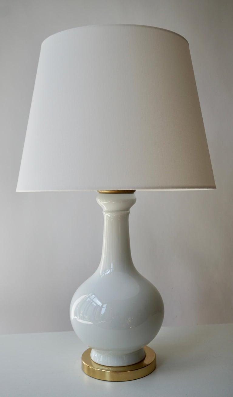 Italian Two Elegant White Porcelain Table Lamps, 1970s For Sale